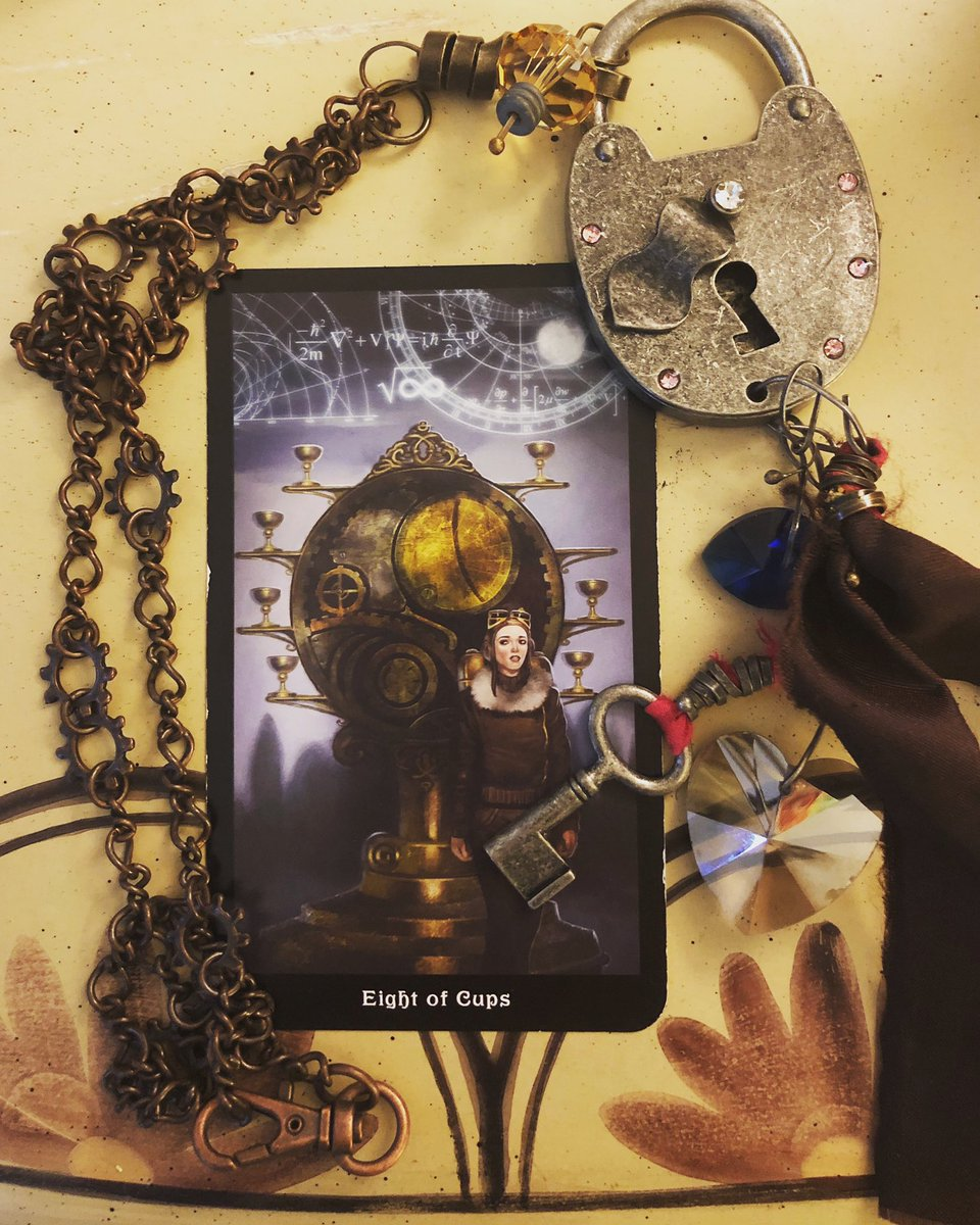 "🦋 ""The life you have led doesn't need to be the only life you have."" Anna Quindlen  🧚🏽‍♀️#Tarot #CardoftheDay 8 of Cups- Feeling of desire, being called by a passion. A retreat or taking a time out; traveling out of your comfort zone, follow your heart.  #Steampunk Tarot #cotd"