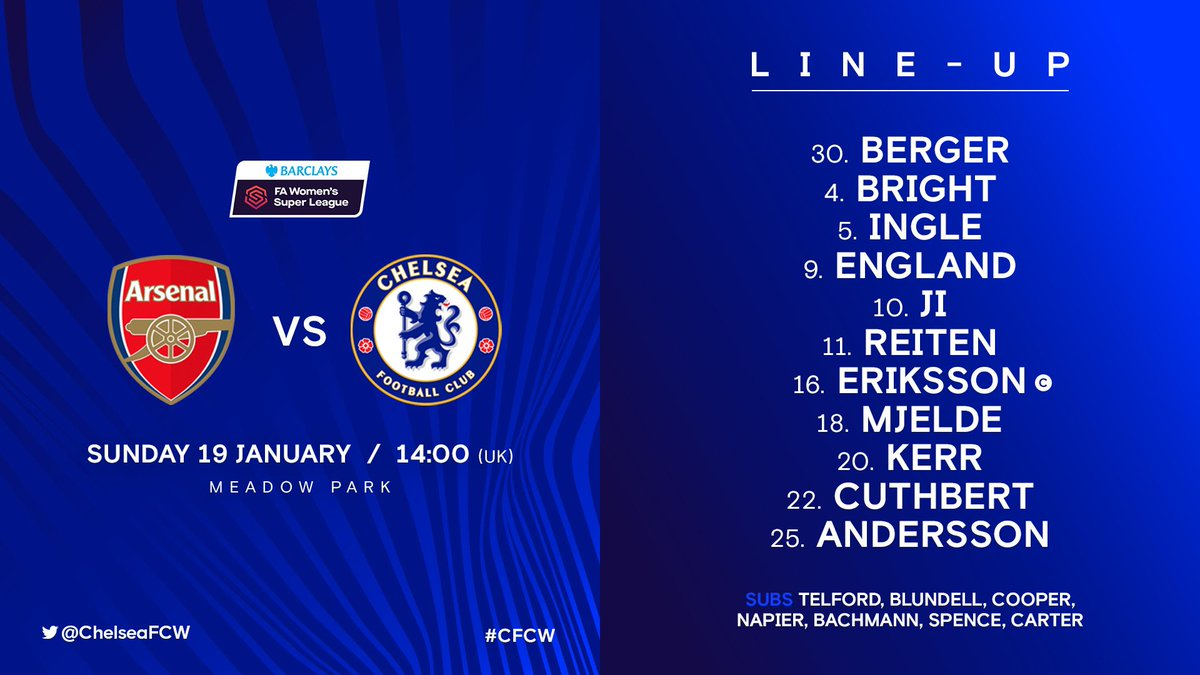 Good luck to @jamieleenapier & @ChelseaFCW as they face @ArsenalWFC in the @BarclaysFAWSL  live on @btsportfootball pic.twitter.com/IcnY0p2eUo