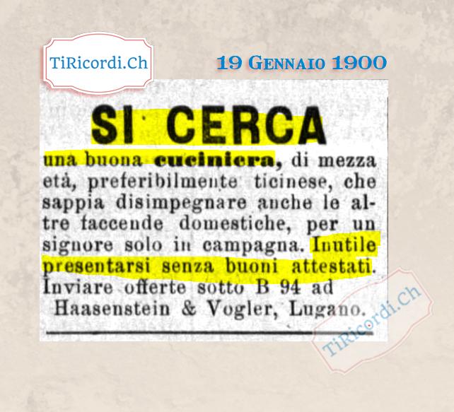 """19 Gennaio 1900: si cerca """"cuciniera"""" con attestati #120anni  #storia #ticino #cultura #retro #svizzera #vintagestyle #swiss #lugano #locarno #classic #antique #tiricordi #art #photooftheday #historypic.twitter.com/anQmnwyOsM"""