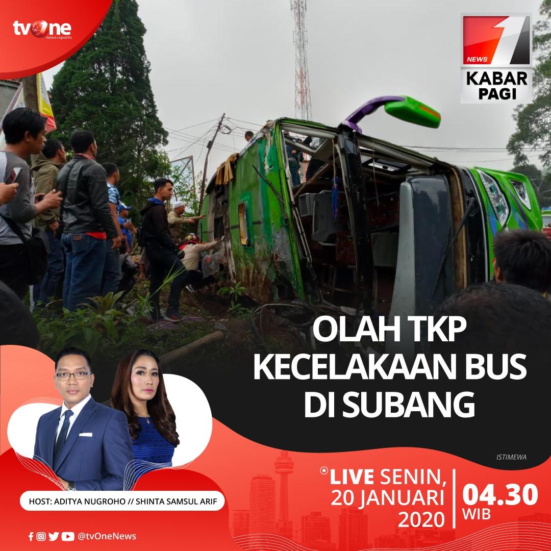 Kabar Pagi: Olah TKP kecelakaan bus di Subang.Nantikan berita selengkapnya bersama Aditya dan Shinta, Senin 20 Januari 2020 jam 04.30 WIB hanya  di tvOne & streaming tvOne connect, android http://bit.ly/2EMxVdm & ios http://apple.co/2CPK6U3 #KabarPagitvOne