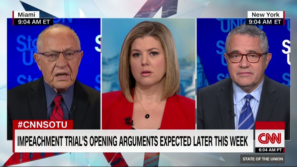 """I was asked by the President's defense team to become of counsel on the specific issue of the... Constitutional criteria for impeachment,"" says Alan Dershowitz, a member of Trump's legal team. ""I will be making that argument as an advocate and not as an expert witness"" #CNNSOTU"