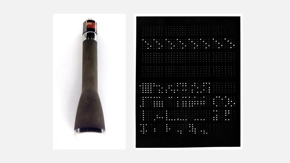 The Williams-Kilburn tube introduced in 1947 was the first entirely electronic memory used in early computers. It used a cathode tube to store bits as dots on the screens surface. Each tube could store about 1024 bits of data.