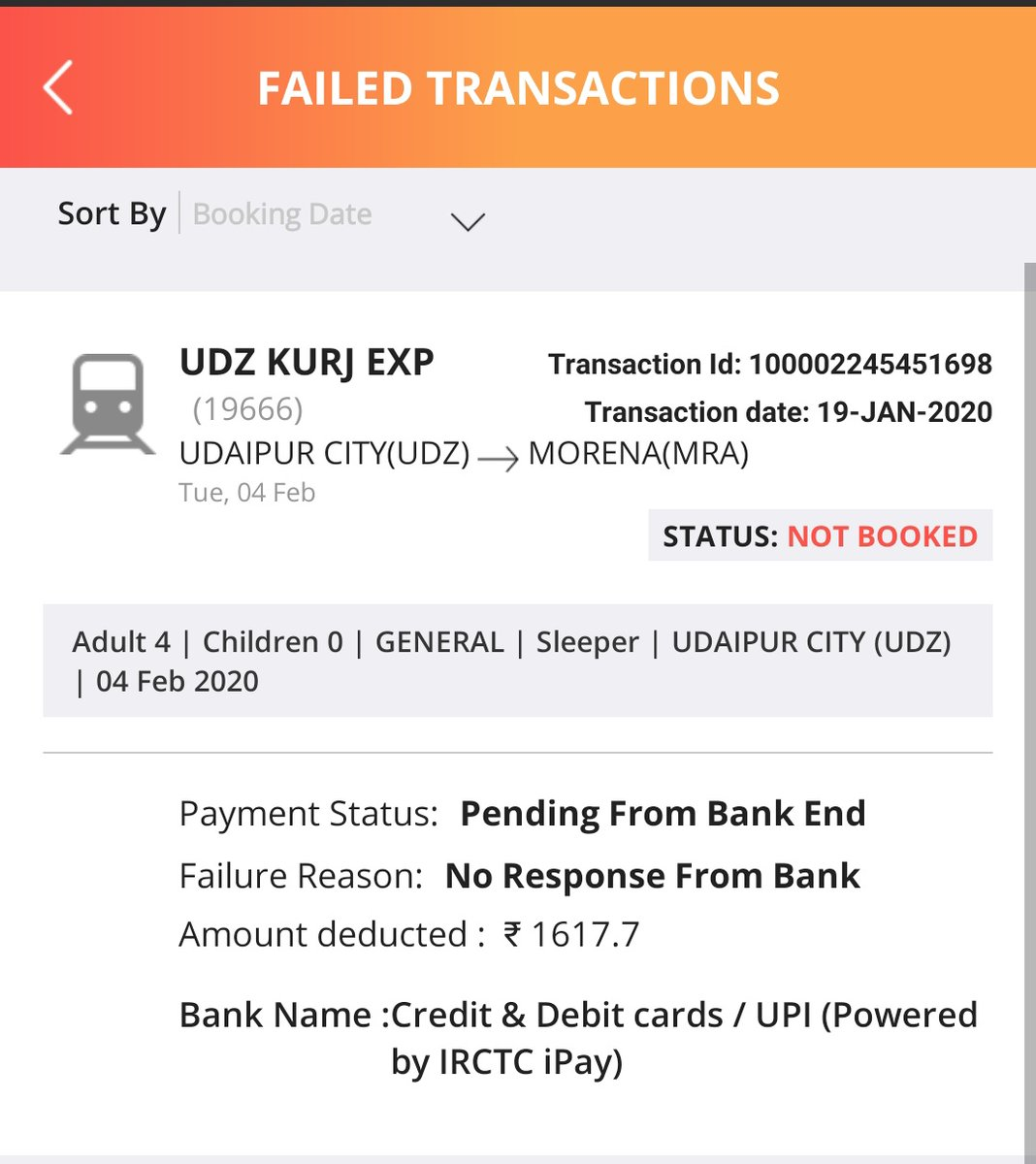 Dear @SBICard_Connect @TheOfficialSBI  I was just booked ticket by Using #SBICreditCard on #IRCTCMobileApp at 7.42pm. Trainsaction was failed & Same pic attached in this tweet. Amount was dedected but refund still not comes. Plz confirm till when i will get refund ?<br>http://pic.twitter.com/tAXaIRuiek