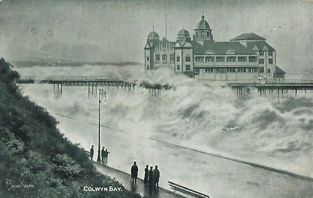 Now you see it, now you don't Two postcards of #ColwynBay #pier for #RoughSeasOnSunday