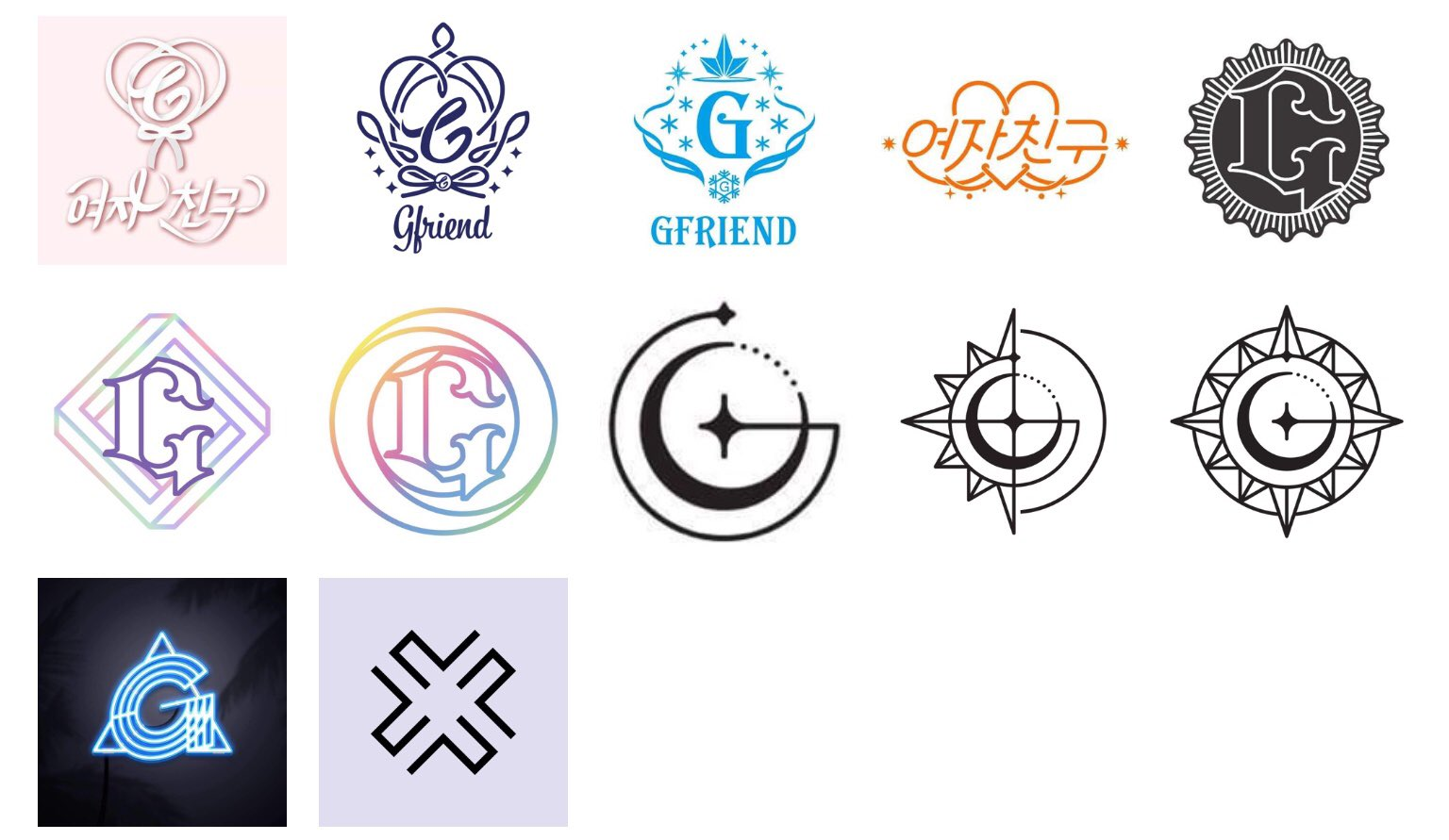 gfriend part 回 on twitter gfriend logo history 2015 2020 season of glass flower bud snowflake lol the awakening parallel rainbow time for the moon night gfriend logo history 2015 2020 season