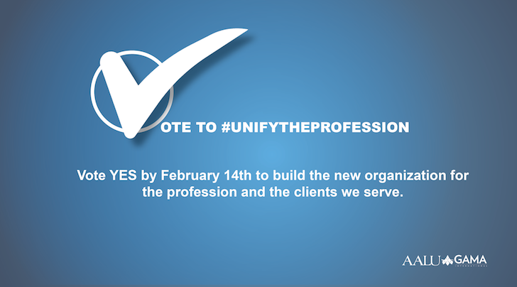 The vote to create AALU and @GAMAIntl's new organization is now LIVE! Check your email for your unique link to cast your vote. #unifytheprofession #VoteYespic.twitter.com/R4ScDcZgvJ