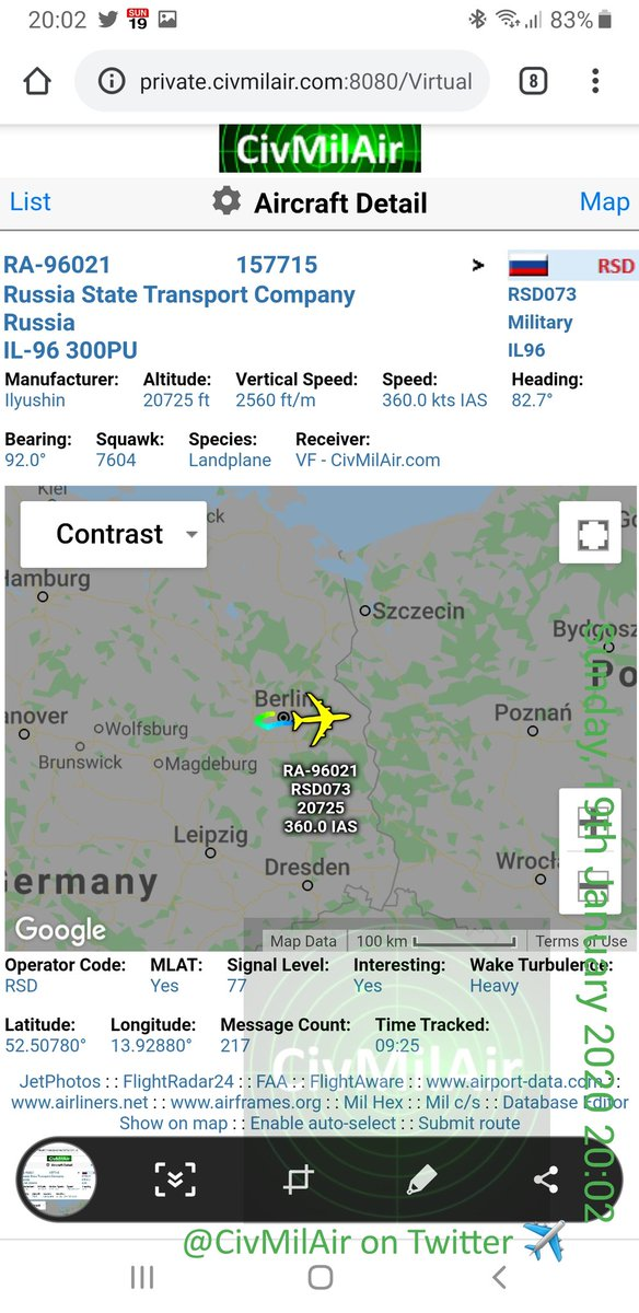 More of Putin's entourage out from Berlin... He doesn't travel light  Russian Government IL96 RA96021 RSD073 pic.twitter.com/PIYDUPd0yH