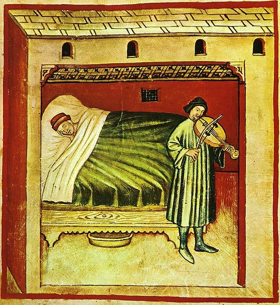 Sunday Slumber Quiz  Take a look at the medieval picture. What do you notice?  Me?  Someone sleeping with a hat. I guess that's a nightcap!  A pan beneath the bed? Hmmm. What's that for?  No alarm clocks back in those days, so did they have a violinist come in to awaken them? pic.twitter.com/4ADjERzLY5