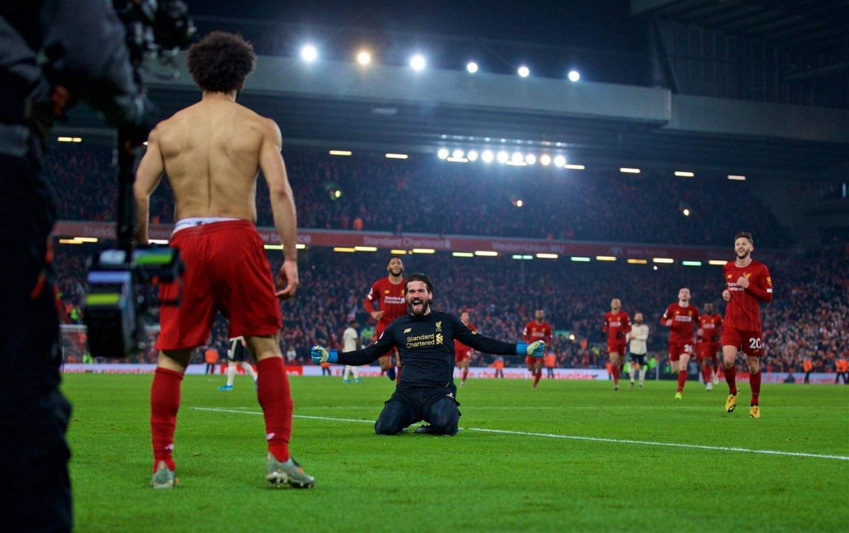 Which was better - the 60 yard pass or the 50 yard knee slide? 😂 #braziliansknowhowtocelebrate #keeperassist #YNWA