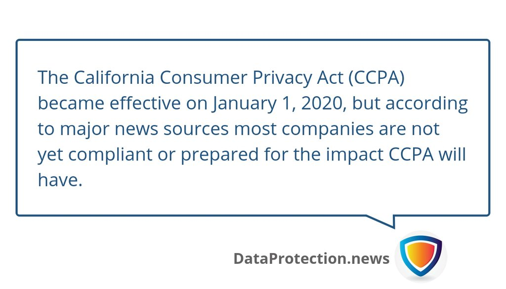 This means first-party data still reigns supreme and for brands, managing customer relationships is more important now than ever before.  Read the full article: Most companies not yet compliant with CCPA ▸ https://privacy.vc/595fa5c0  #Dataprotection #PrivacyAct #Privacy #ccpapic.twitter.com/5kbt0IOxa5