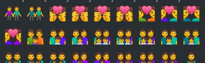 Klavyenizdeki emojilerle dikkatli baktınız mı?? 👬 👨❤️💋👨👨❤️👨👨👨👦👨👨👧👨👨👧👦👩👩👧👦👩👩👦👦
