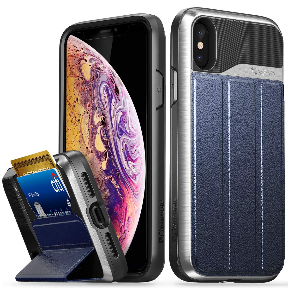 Vena iPhone XS/X Wallet Case, [vCommute] [Military Grade Drop Protection] Flip Leather Cover Card Slot Holder Compatible with iPhone XS/X - Silver (PC) / Blue (Leather) / Black (TPU)  ➤ $ 39.99.  ➤ https://pooo.st/i7Ctk pic.twitter.com/ih3w1Q5Gqf