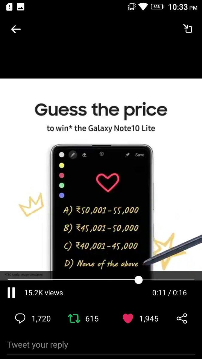 #GuessThePrice #GalaxyNote10Lite #Samsung @SamsungIndia  A) Rs. 50001 - 55000pic.twitter.com/f4yb6qVp1Z