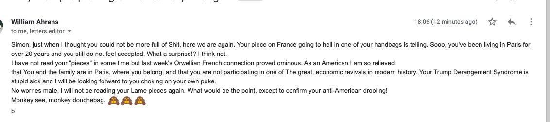 I treat all reader emails as confidential, except when they are abusive. This one is from my US reader William Ahrens