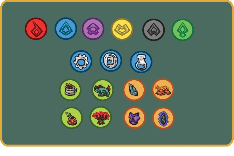 Old tokens for Civz of Aezir, most of them are not in the new version and the resources willbe redeisgned to make it more clear the 3 different resources of the game. The player color tokens will be the same for now. #boardgame #tabletopgame #gamedesign #gameart #conceptartpic.twitter.com/tUokTuwO59