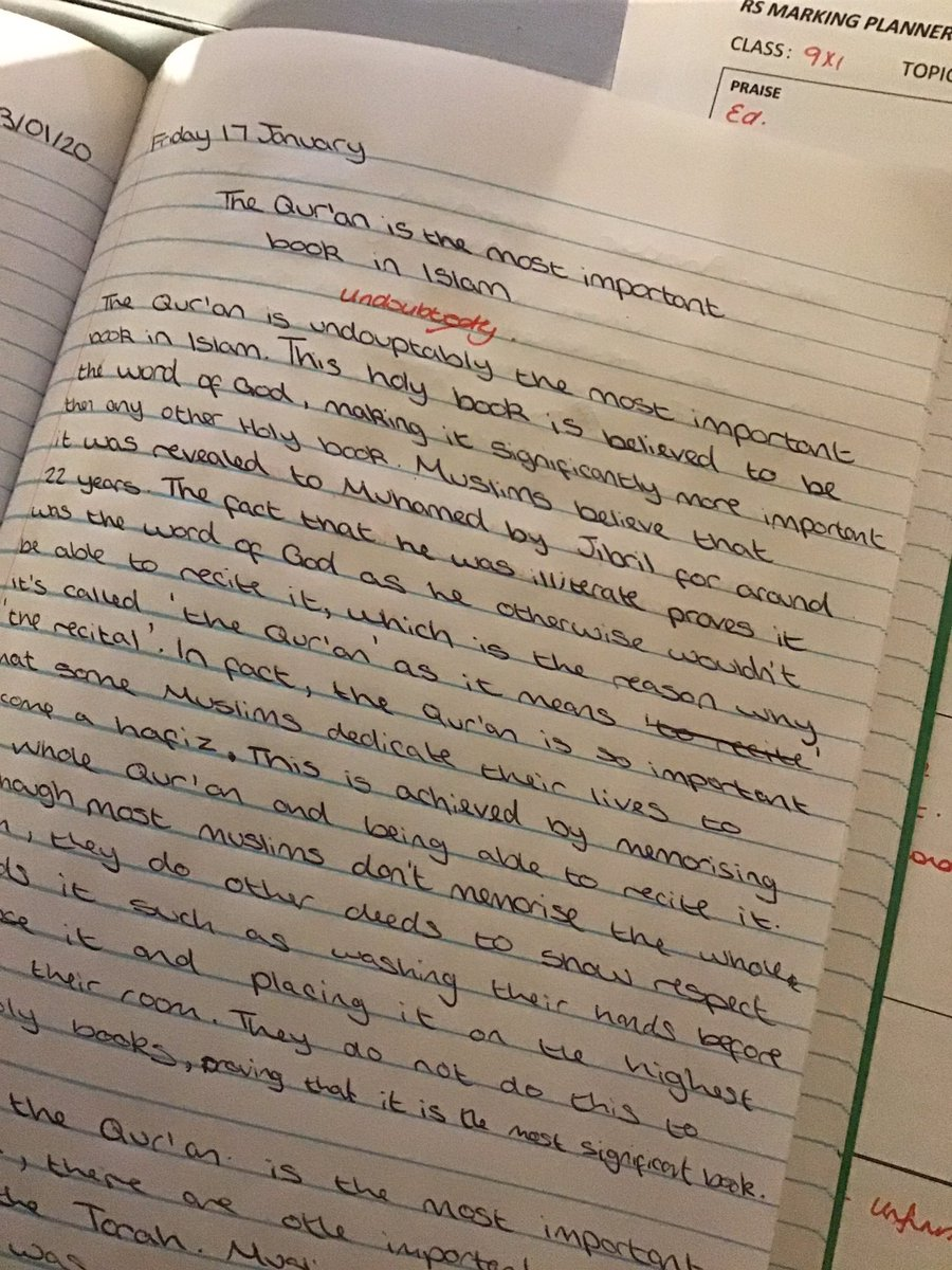 Sunday afternoon marking is not such a chore when year 9 write so beautifully!