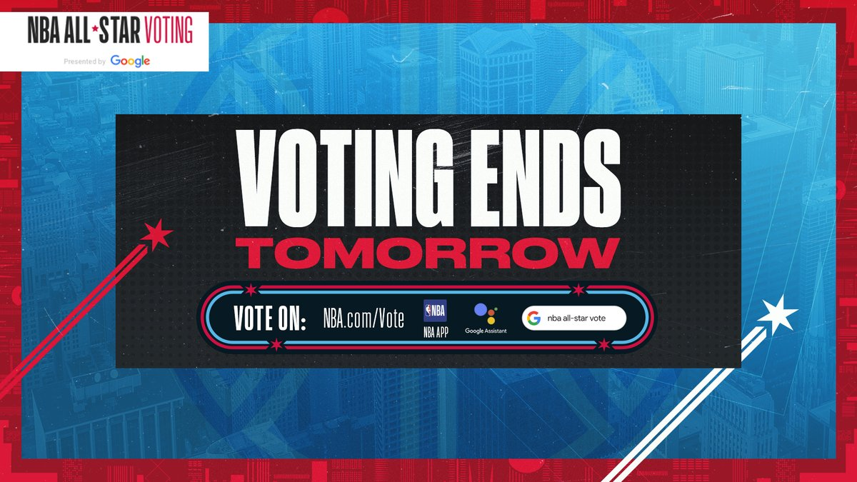 #NBAAllStar Voting 2020 presented by @Google ends TOMORROW!   🗳️ Vote on http://NBA.com, the NBA App, with the Google Assistant or with Google Search! #VoteNBAAllStar https://nba.app.link/e/allstarvoting