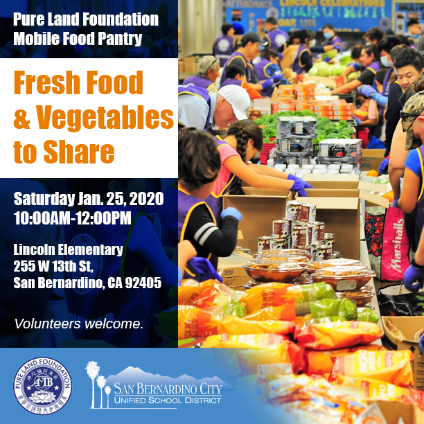The Pure Land Foundation is hosting its Mobile Food Pantry Distribution at Lincoln Elementary School (255 W 13th St.) on Sat., Jan 25th. For more information, email info@pureland.foundation or call (909) 539-4166 http://ow.ly/A7uT50xLHle pic.twitter.com/dCumnHvUaL