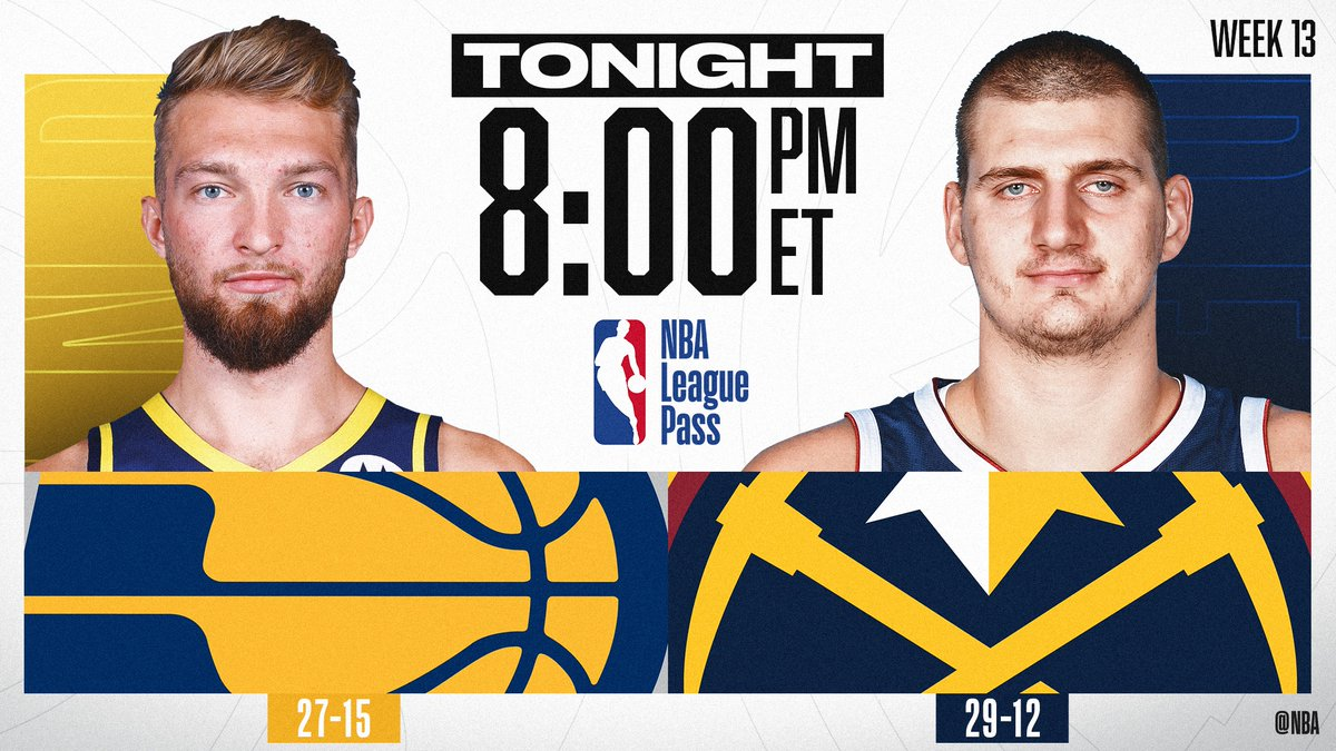 TONIGHT on NBA League Pass at 8pm/et, Domantas Sabonis and the @Pacers look for their 5th straight win when they visit Nikola Jokic and the West's #2 @nuggets!   📲💻: https://nba.app.link/nbaleaguepass1