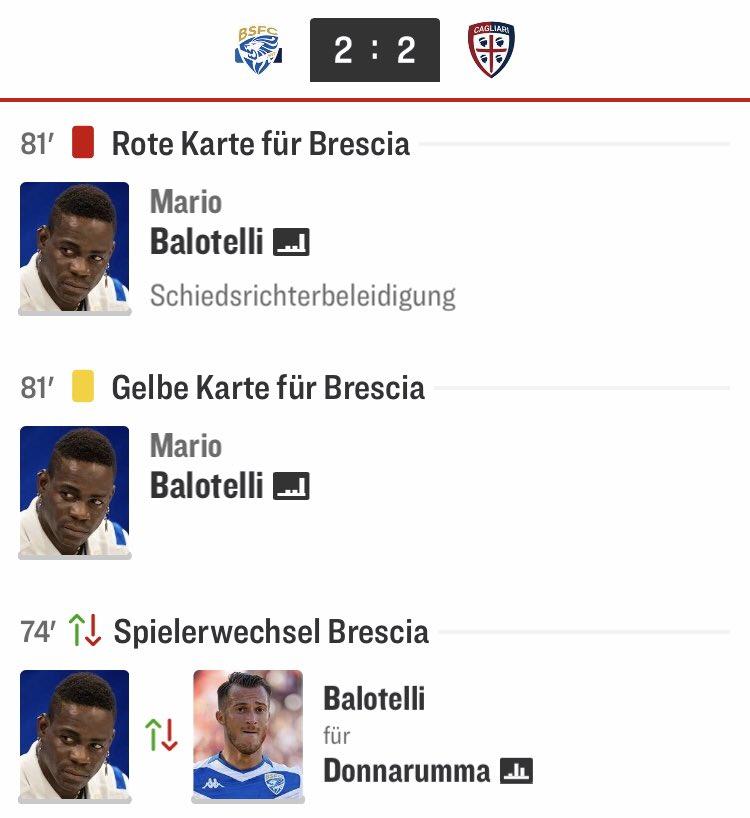 Heute mal wieder ein klassischer #Balotelli-Spielverlauf 😂 ___ Screenshot: @kicker