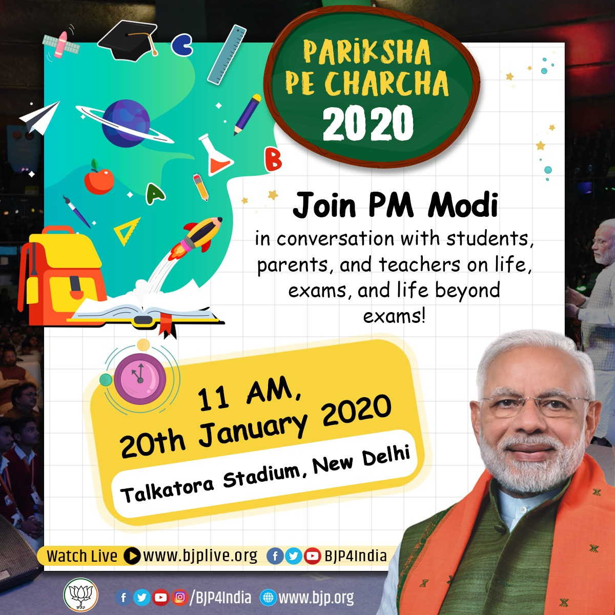 Join Prime Minister Shri @narendramodi in conversation with students, parents and teachers on life, exams and life beyond exams, tomorrow at *11 AM*  *Live Link*   •  http:// facebook.com/BJP4India     •  http:// pscp.tv/BJP4India     •  http:// bjplive.org    <br>http://pic.twitter.com/dA2taoDkkp