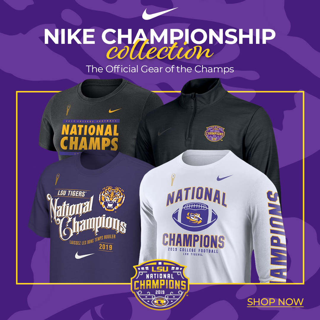Get your National Championship gear online or at the sport shop next to Mike's Habitat! 🔗 lsul.su/36SaJ74