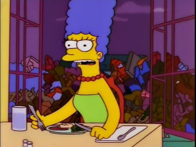 """""""Homer, that crazy lady who lives in our trash pile attacked me today."""" """"That's not the way she tells it.""""<br>http://pic.twitter.com/KeKo5p5ltS"""