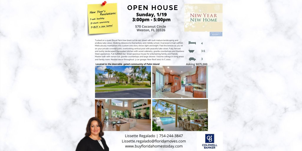 OPEN HOUSE  Sun. 1/19 3:00pm-5:00pm. 570 Coconut Circle Weston, FL. Stop by or Call me for a private showing 754-244-3847. #openhouse #coldwellbanker #westonflorida #realtorlife #southflorida #dreamhome #newyearnewhome  #lissetteregaladosellsfloridahomes #buyfloridahomestodaypic.twitter.com/2gu8H2sOp7