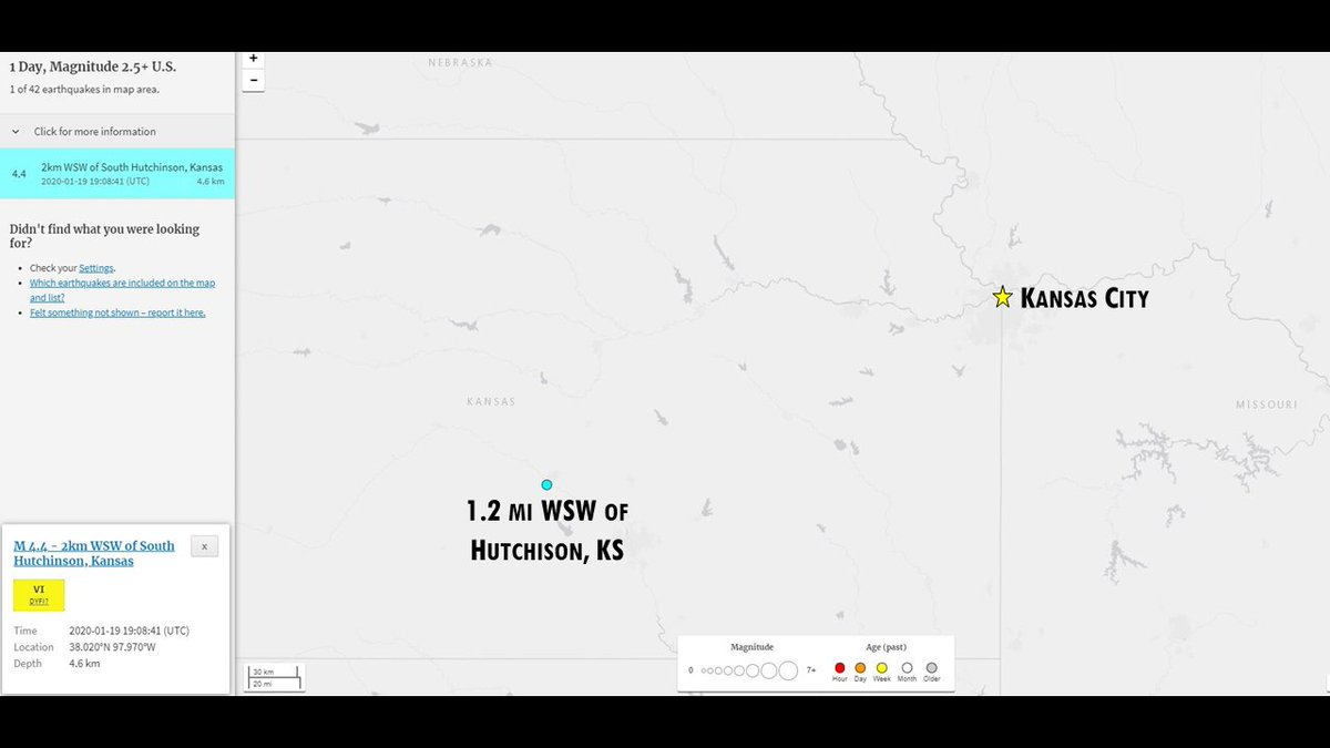 If you thought you felt the ground shaking, it was indeed an actual #earthquake   Preliminary results say a 4.4 magnitude earthquake occurred at 1:08 CST about 1 mile WSW of Hutchison, KS. This is about 219 mile southwest from KC. @USGS<br>http://pic.twitter.com/CYP1MJxC2t