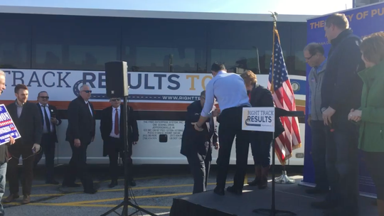 Here's Lev and Igor (at left background) with Trump's attorney (right foreground) at a political rally for Sen. Braun (R-IN) days before the 2016 election. Why did the GOP have Lev traveling around the nation trying to elect Republicans? Who knows? Let's definitely not find out!