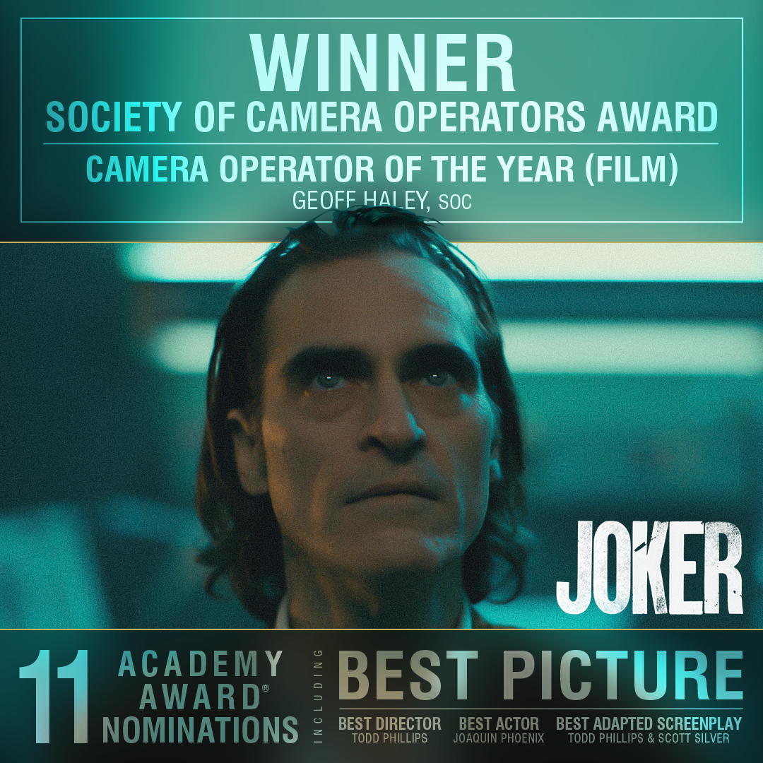 RT @jokermovie: Congratulations to Geoff Haley on his #SOCAward win for Camera Operator of the Year for #Joker. https://t.co/b8cpXGk6Wg