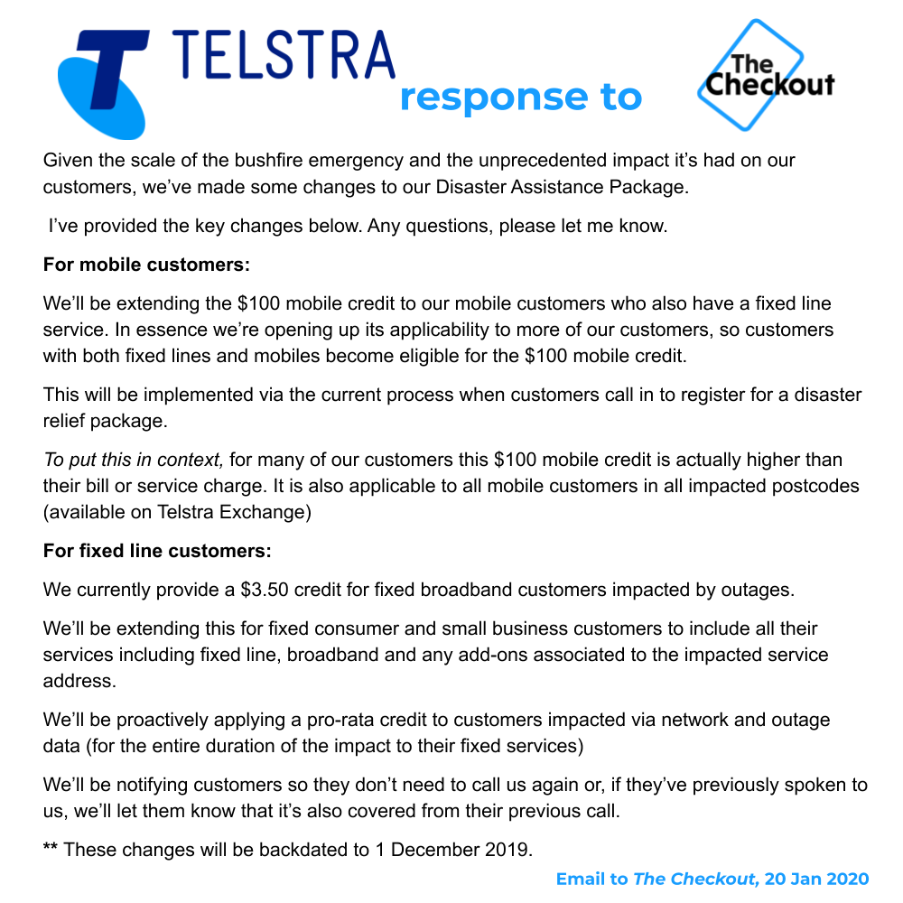 This just in from Telstra ... *proactive* credits for bushfire affected customers as opposed to you can apply. Much better: what a difference 10 days (and maybe a few questions) makes ...
