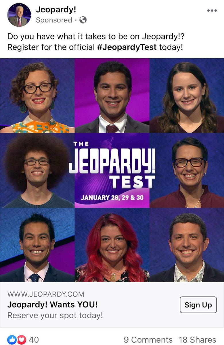 You may have already started seeing my face on Facebook ads to take the @Jeopardy  adult test. If youre eligible, do it! Theres nothing to lose.   https://www.jeopardy.com/be-on-j