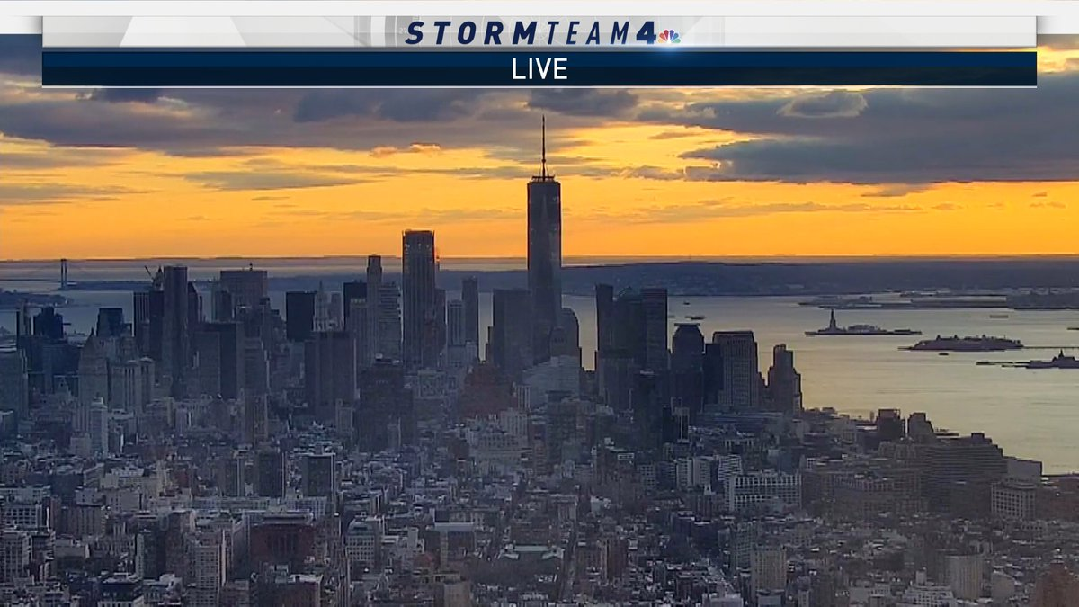 A beautiful sunset with clouds moving out. Get ready for a *much* colder night. #NYC
