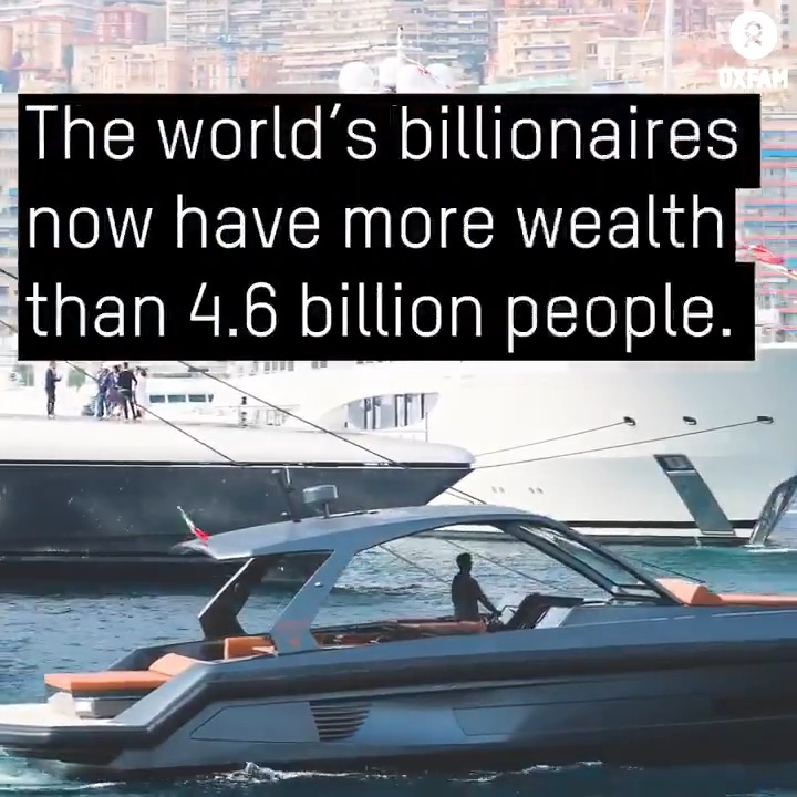 BREAKING: The world's billionaires have more wealth now than 4.6 billion people.  Now, more than ever we must #FightInequality  to #BeatPoverty !  Our new inequality report is out today ahead of #WEF20 . 👆🏿