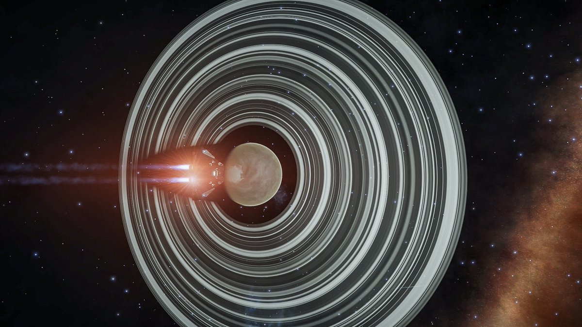 Stunning ringed Ammonia World en route to the next #LS2 WP.This is a first for Ail Frân, she's not seen one of these before and I've not often seen one looking so pretty! 💖😍#EliteDangerous