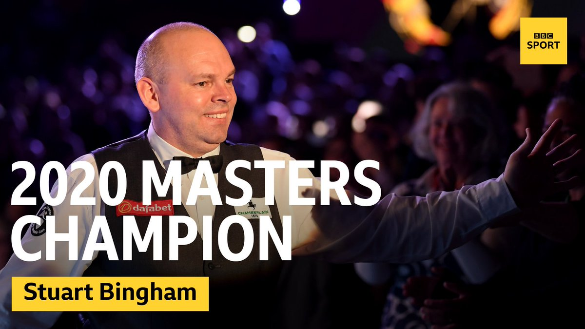 He's done it! 🏆 Stuart Bingham wins the 2020 Masters 🏆He edges out Ali Carter to win a brilliant final 10-8.Watch LIVE on @BBCTwo now! 👉https://bbc.in/30FRD1I