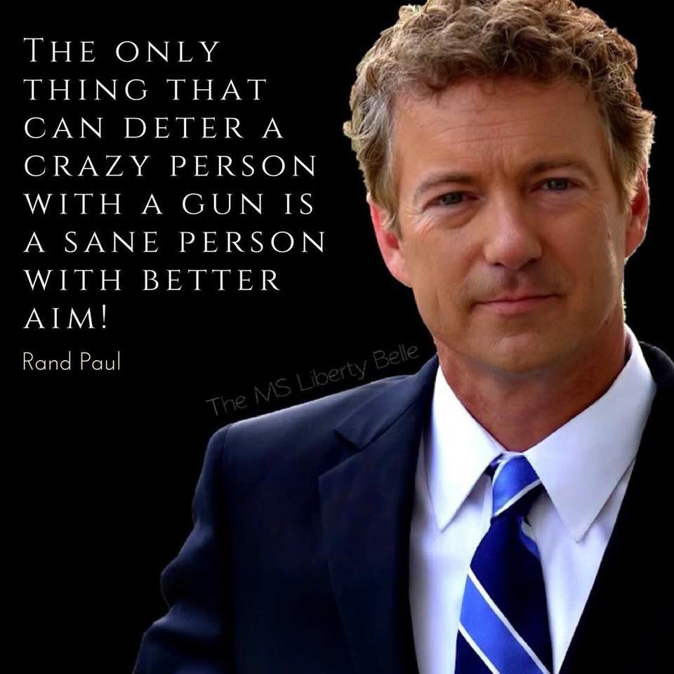 @realDonaldTrump @IsraelUSAforevr The only thing that can deter a crazy person with a gun is a sane person with better aim 🎯 @RandPaul ✔ OUR CONSTITUTION HAS BEEN UNDER ASSAULT BY THE AMERICAN LEFT FOR SEVERAL DECADES SUPPORT THE SECOND AMENDMENT.. IT PROTECTS ALL THE OTHER AMENDMENTS ⚖ VOTE RED AMERICA
