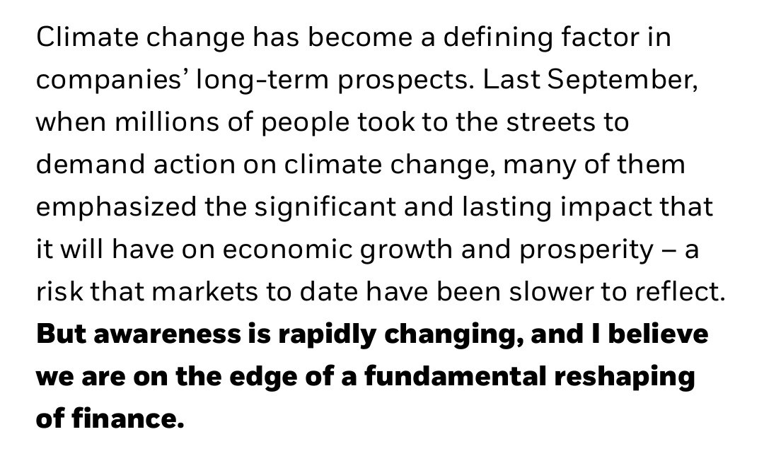 "Promising open letter from the CEO of Blackrock: ""Every government, company, and shareholder must confront climate change.""...""We are at the edge of a fundamental reshaping of finance"" #ClimateEmergency https://www.blackrock.com/corporate/investor-relations/larry-fink-ceo-letter …pic.twitter.com/YW3wa79faX"