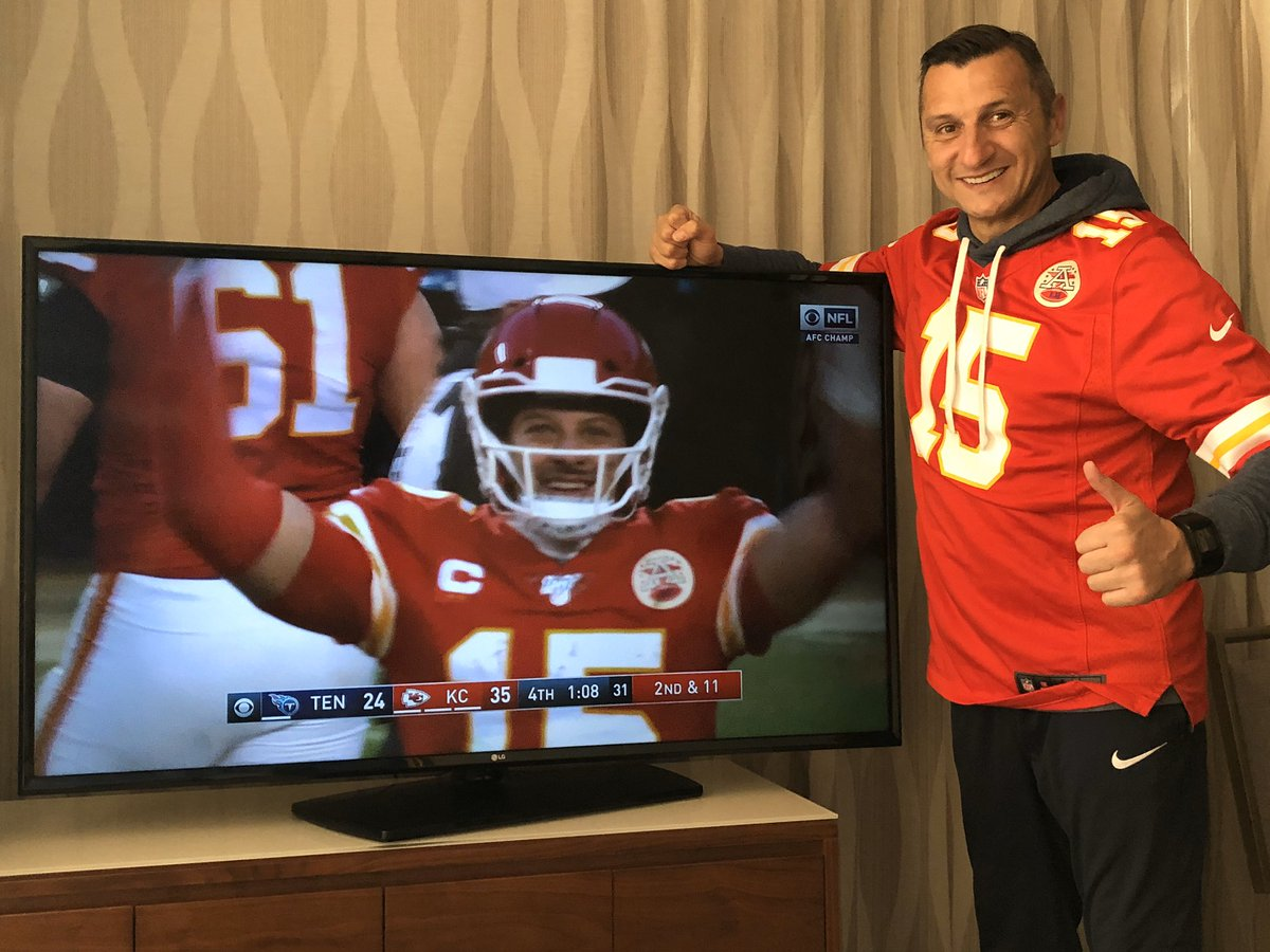 Yep, we've got one VERY happy head coach over here. He's a Kansas City man after all. Congrats on the AFC title, @Chiefs!