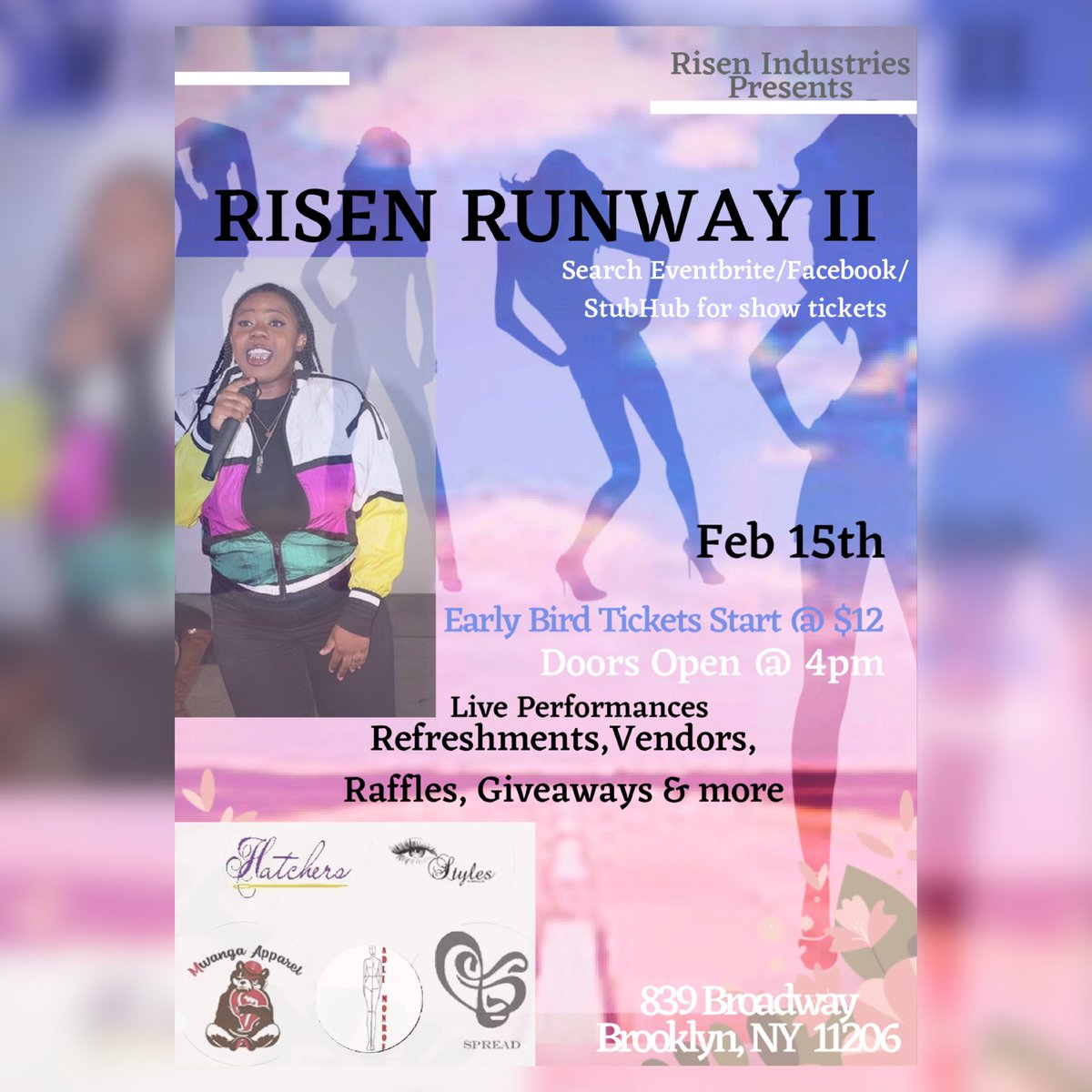 Feb. 15th @Risen_Bud presents #RISENRUNWAY II in Bk,NyHere's a #fashion event you dnt wanna miss 4+ #Designers 🤩, alluring #models 😍, #enticing Performers🎤#Giveaways 👀 & even a LIVE BAND search RISEN RUNWAY II on #eventbrite#fashionshow #nyfwshow #nycmodel #modeling