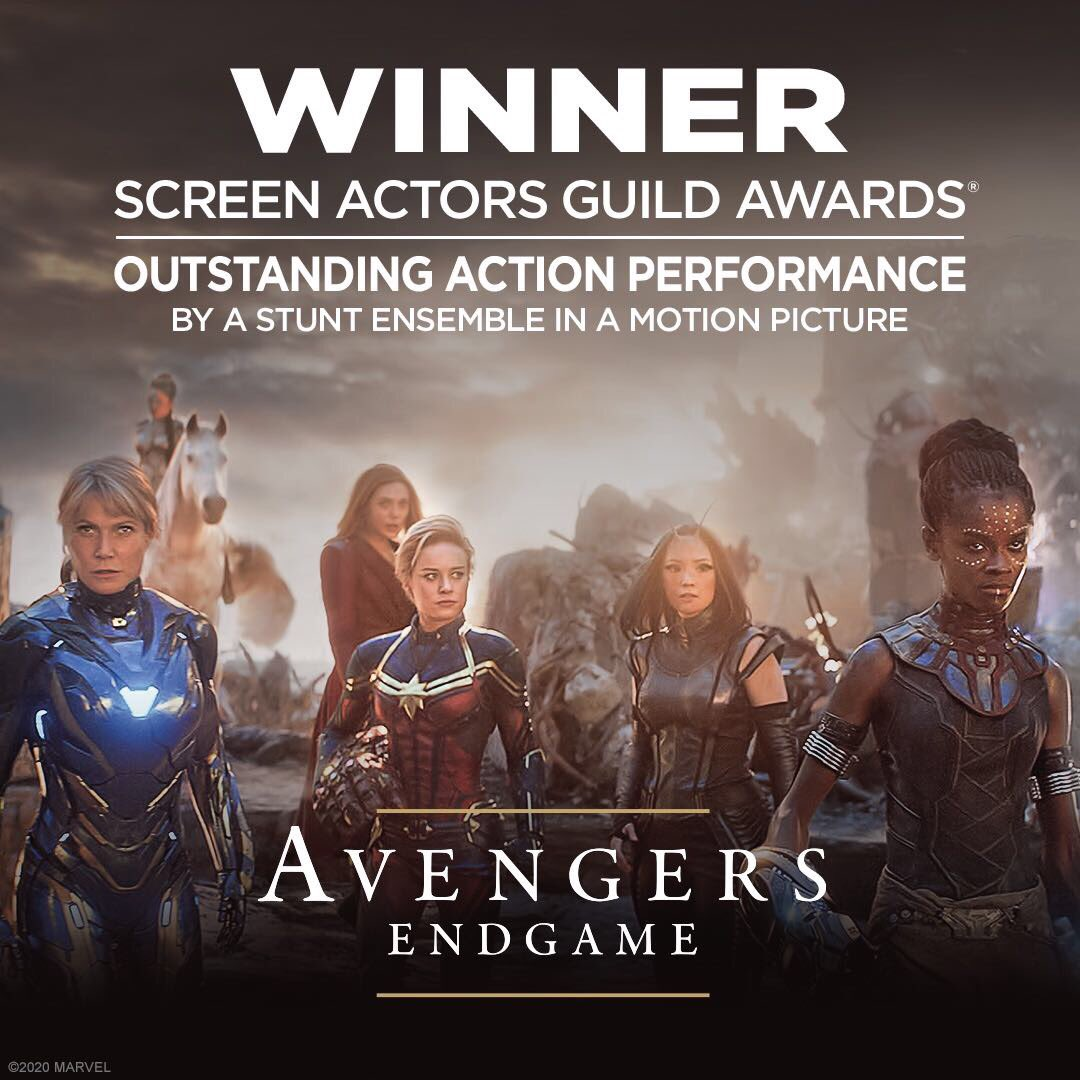 Congratulations to the cast and crew of #AvengersEndgame for winning the SAG Award for Outstanding Action Performance by a Stunt Ensemble in a Motion Picture.
