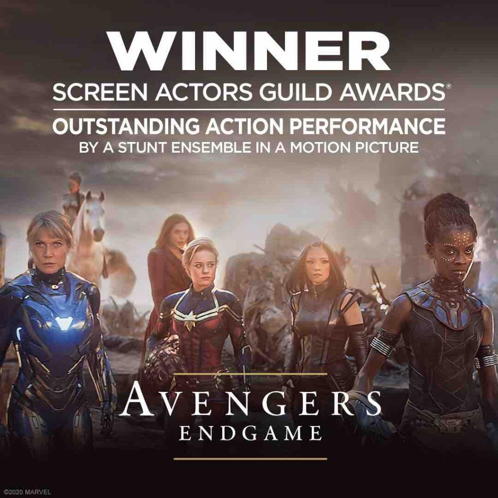 Congratulations to the cast and crew of Marvel Studios' #AvengersEndgame for winning the Screen Actors Guild Award for Outstanding Action Performance by a Stunt Ensemble in a Motion Picture! #SAGAwards<br>http://pic.twitter.com/uqd7pWVLMO