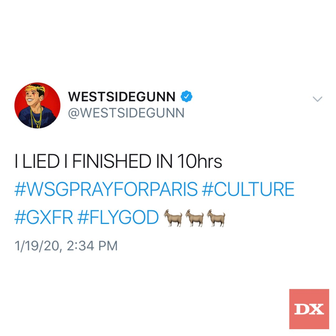 .@WESTSIDEGUNN's latest project is already finished?! 👀 #WSGPRAYFORPARIS