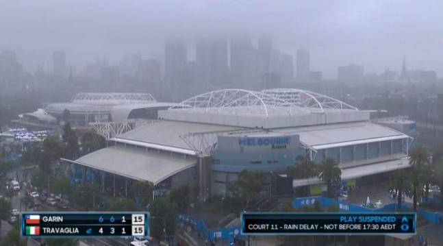 Llueve muy fuerte a esta hora en Melbourne. Existe una alta probabilidad de que los únicos partidos que se completen hoy sean los de las tres canchas principales. #AusOpenpic.twitter.com/Miy8Bi4HBa