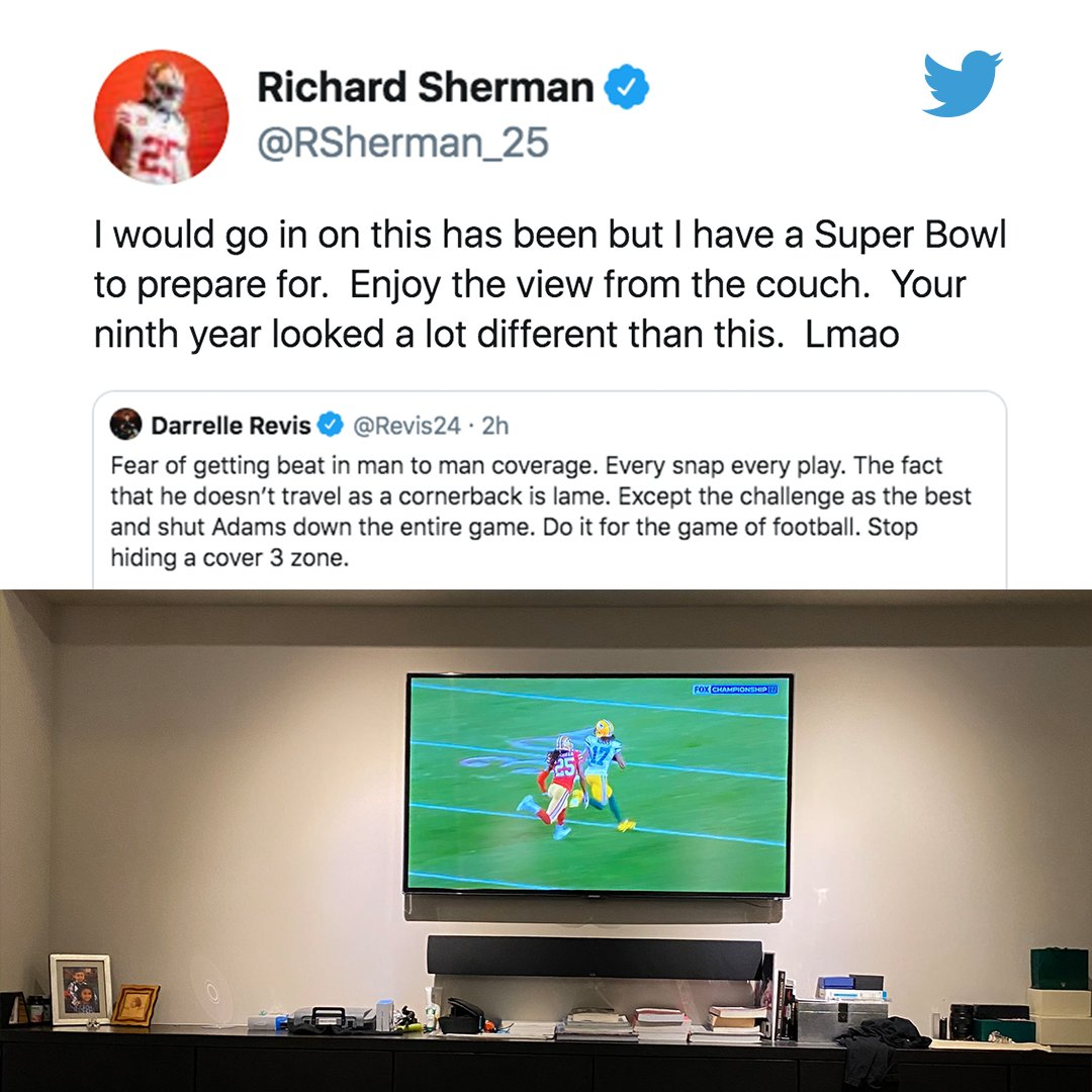 Darrelle Revis shared thoughts on Richard Sherman from his couch. Sherman clapped back as an NFC champion 👀