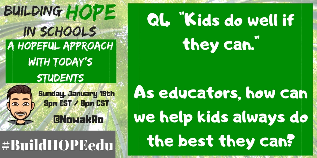 Q4 'Kids do well if they can.' As educators, how can we help kids always do the best they can? #BuildHOPEedu