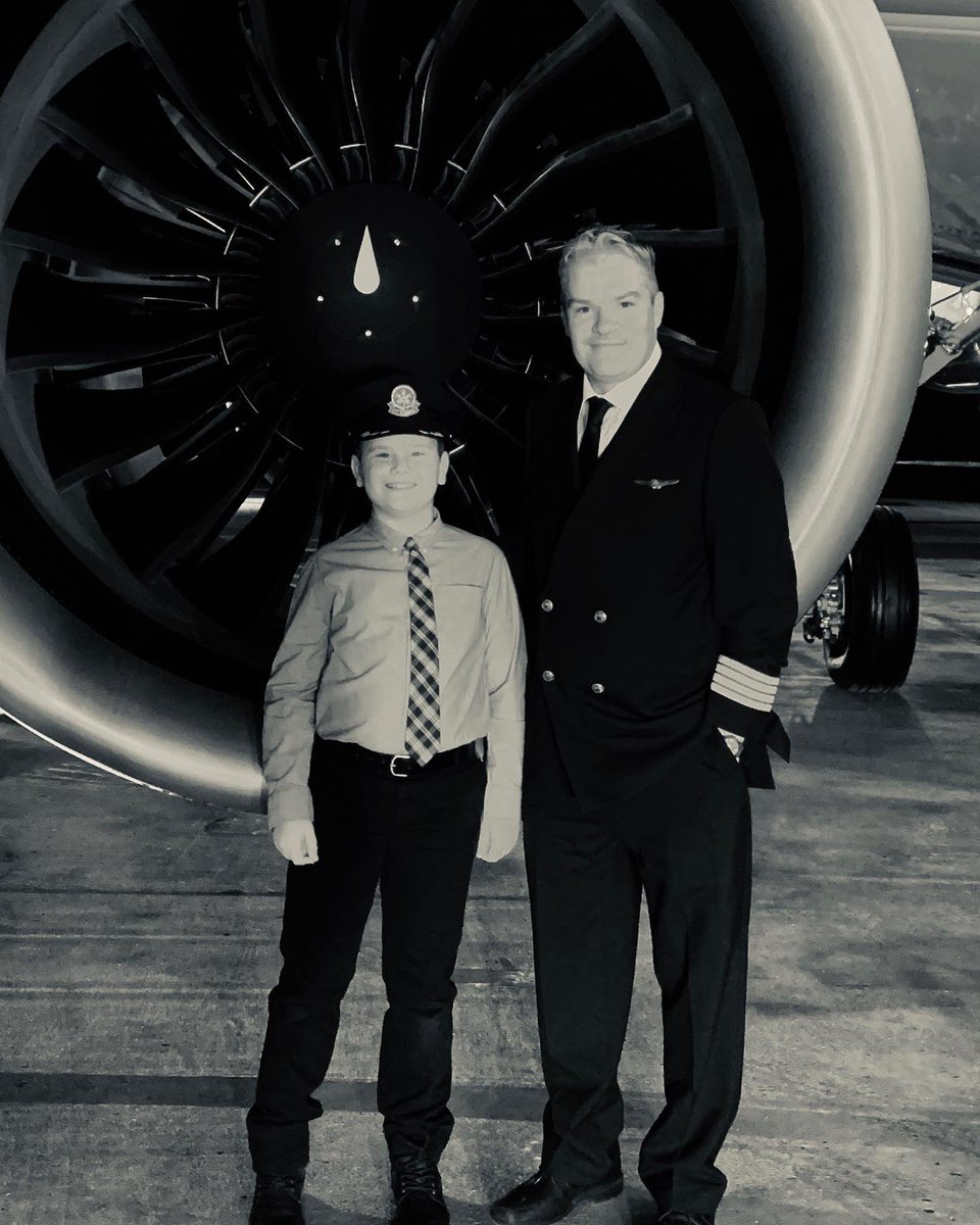 """Looks like our GTF engine gained a new """"fan""""! Happy to help inspire the next generation of flight! #avgeek #GTF"""