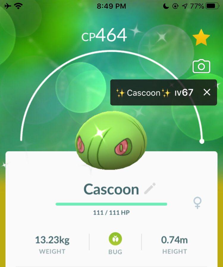 another shiny CASCOON   on my alt   anyone got extra shiny SILCOON for trade?   registered trades only   #pokémonGo #shinypokémon #shinyhunters #pogoshinymasterspic.twitter.com/85pfVOaTbk