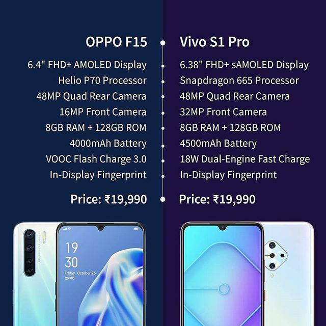OPPO F15 vs Vivo S1 Pro . . . Follow And Support Us @TheTechyZone . . #OPPOF15 #FlauntItYourWay #Vivos1Pro #Quadcam #diamond #sleek #comparekaro #new #trendy #trending #latest #smartphone #technews #technology #SearchAtGoogle #TheTechyZone  #AskTTZ  Cr s… https://ift.tt/3aAdEDE pic.twitter.com/MMKvEcJfMb